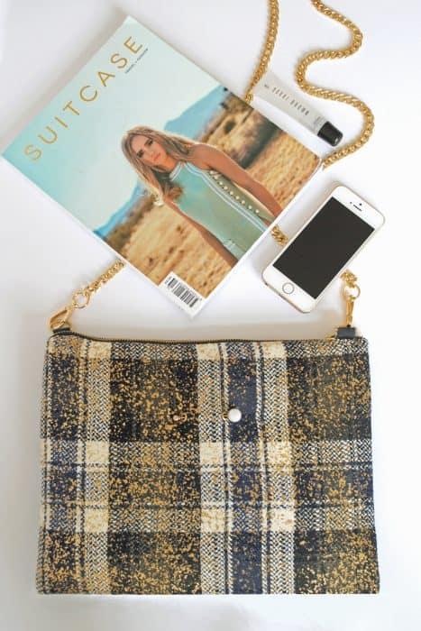 Plaid Clutch Bag with Strap