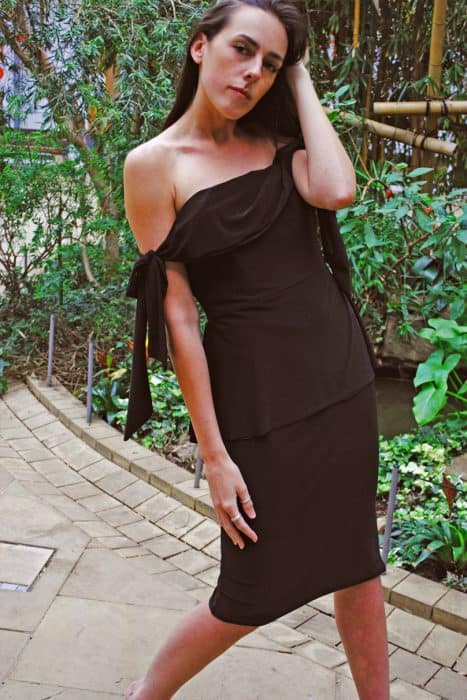 Black Mumba Tie Shoulder Dress