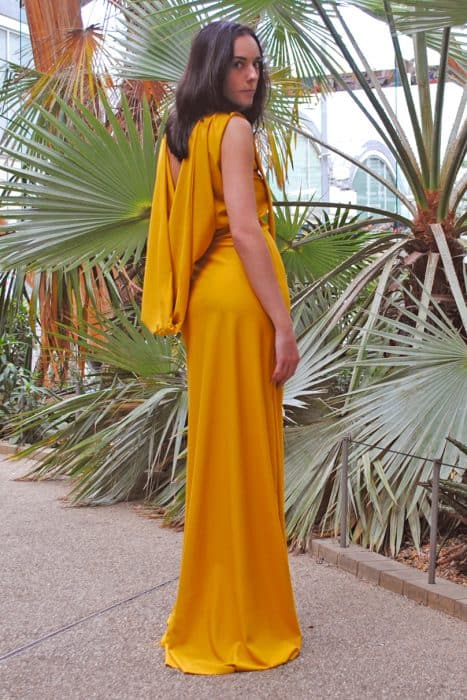Gold Cowl Back Dress