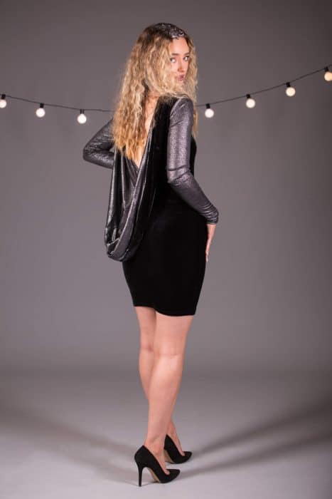 Mini Dress Cowl Back Dress with Long Sleeves in Black