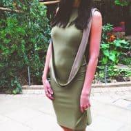 Cowl Back Midi Dress in Soft Khaki