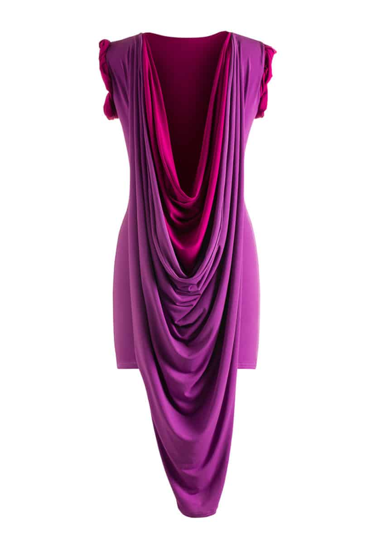 dress off sheath drape posen prod the zac back shoulder p cocktail drapes mu